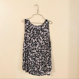 Black and White Floral Tank Top